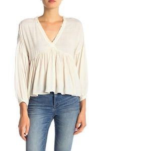 Lucky Brand Romantic Peasant Blouse White Large